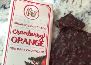 Theo chocolate bar with freeze dried cranberries